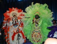 Congo Square Mardi Gras Indians, during performance with Donald Harrison, Jr. Photo by Jim Eigo.