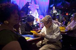 JJA Jazz Awards 2012  George Wein, foreground Josh Jackson onstage